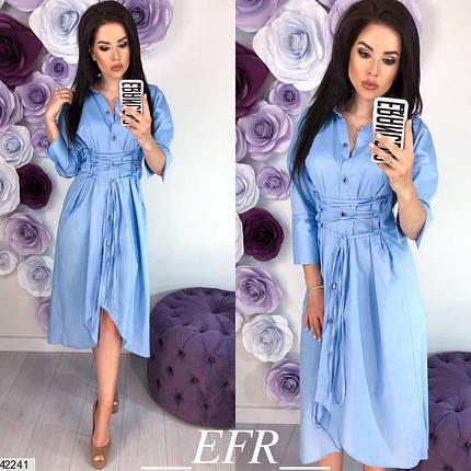 Летнее платье рубашка миди рукав три четверти полуоблегающее коттон голубое, фото 2