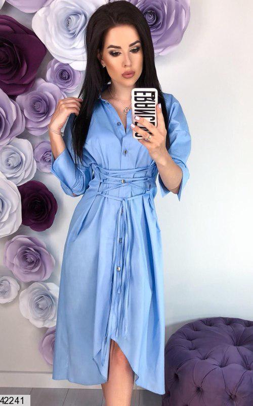Летнее платье рубашка миди рукав три четверти полуоблегающее коттон голубое
