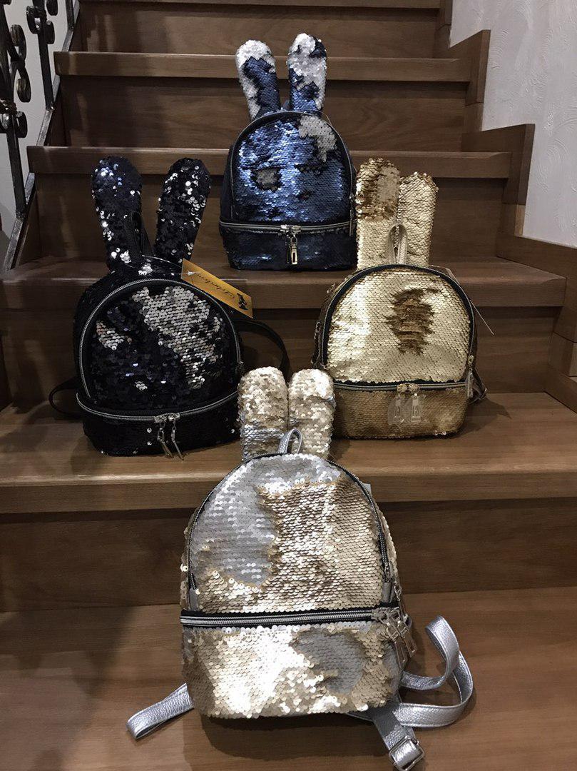Рюкзак зайчик в двусторонних пайетках из кожзама