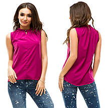 Однотонная блузка без рукавов, фото 2