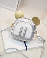 Женская маленькая сумочка Микки Маус с ушками серебристая , фото 1