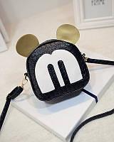 Женская маленькая сумочка черная Микки Маус с ушками