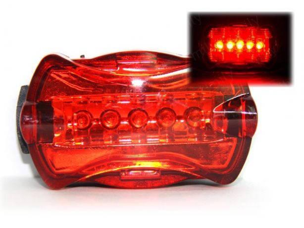 Велофара задняя габарит маячок 5 LED диодов 6 режимов моргалка стоп, фото 2