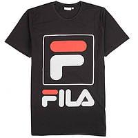 Футболка чёрная F Fila logo   Стильная