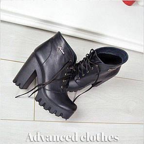 Ботинки со шнурком на каблуке натуральная кожа байка, фото 2
