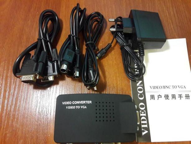 Преобразователь из AV (RCA тюльпан, S-Video) на VGA конвертер tv вга