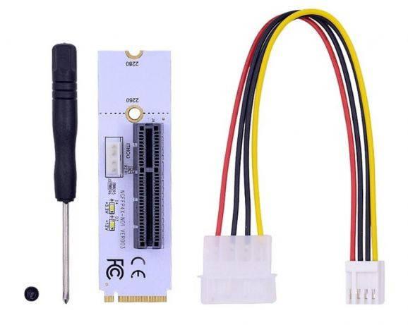 Райзер м2 белый с LED PCI-E Riser 4pin m2 для видеокарт m.2 м.2 GPU, фото 2