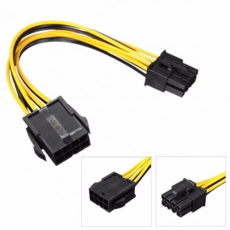 Удлинитель gpu 19 см для видеокарты 8 pin -> 8 pin PCI-E 8 пин на 8