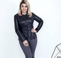 Модный кожаный пиджак женский 30338 48–54р. в расцветках