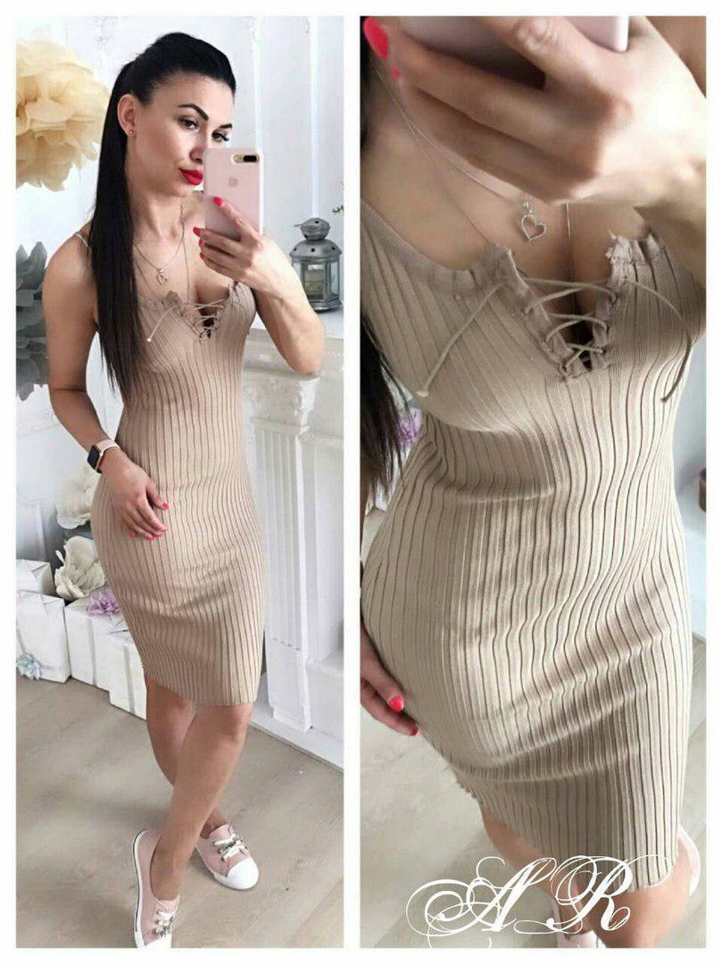 Платье резинка обтягивающеетрикотаж шнуровка