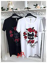Платье туника свободное летнее с котом и цветами, фото 3