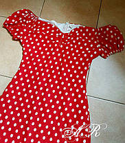 Платье притал в горошек с открытыми плечами, фото 3