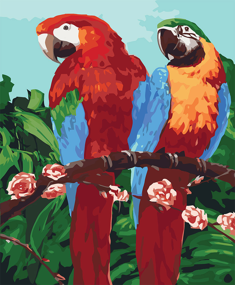 Картина по номерам - Королевские попугаи