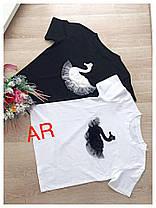 Футболка черная и белая с лебедем, фото 3