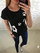 Футболка с кошачьими лапками черная и белая, фото 2