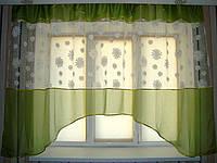 "Кухонная тюль аркой ""Ромашки"" зеленая 3 м, фото 1"