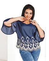 Женская джинсовая блузка с вышивкой размеры 50-56
