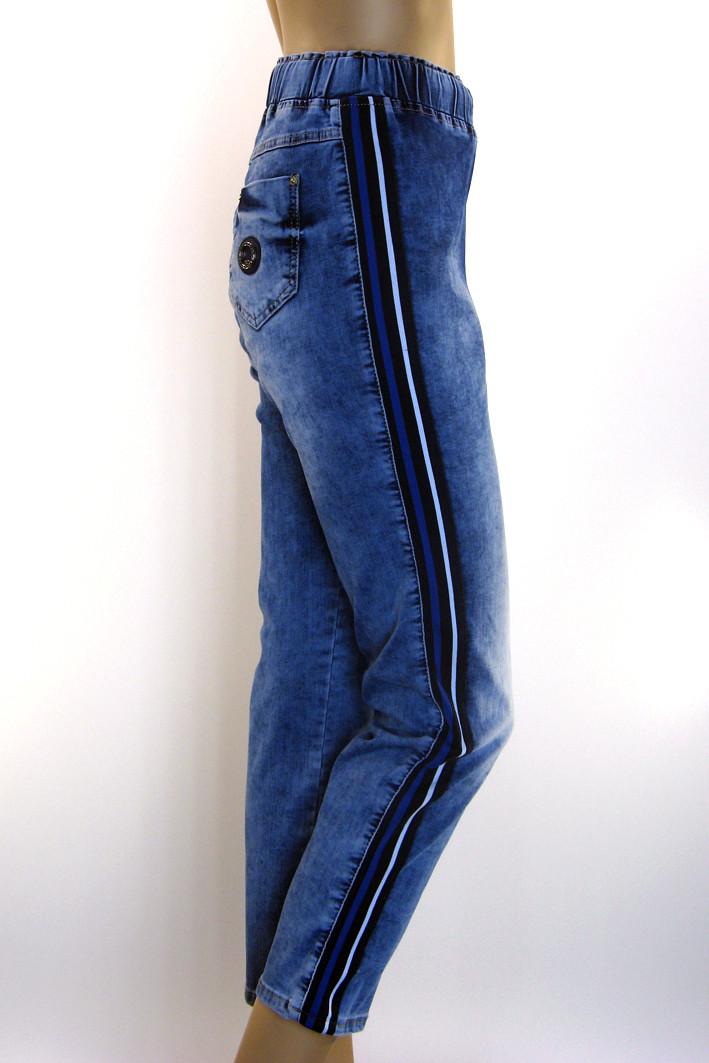 Жіночі джинси на резинці з лампасами  18ee494fe3fc9