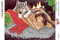 Вышивка бисером СВ 4039 Девушка с волками формат А4