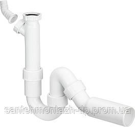 Сифон трубный для моек с отводным коленом 1 1/2, пластик (101800)