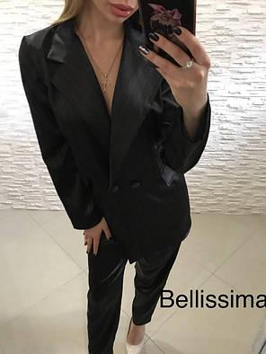 Костюм классический офисный брюки и пиджак в полоску, фото 2