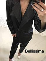 Костюм классический офисный брюки и пиджак в полоску, фото 3