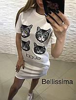 Платье футболка GG свободное с накаткой коты, фото 3