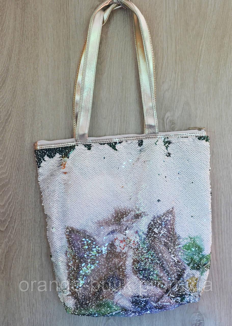 8711d49a52cc Стильная летняя городская, пляжная сумка с пайетками и принтом  собачка/котик, ассортимент цветов