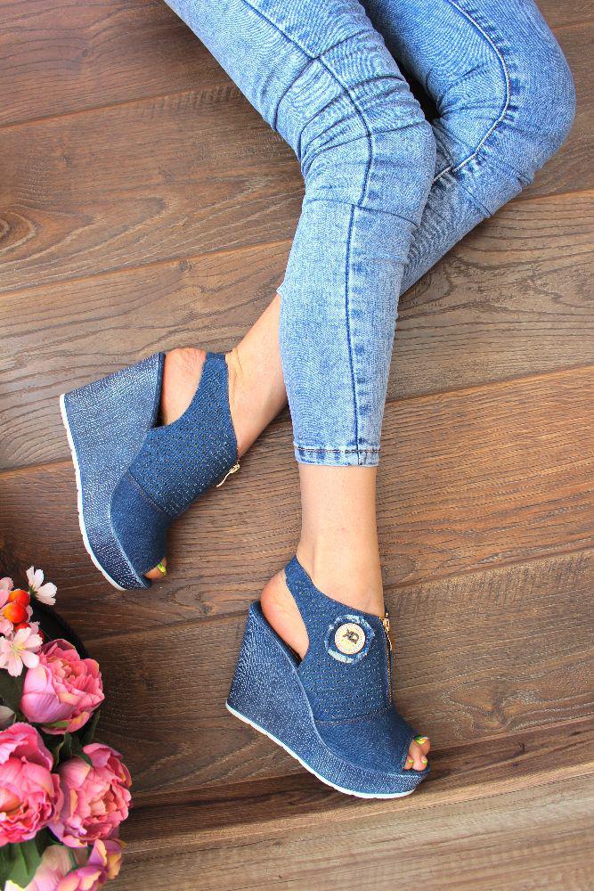 """Босоножки """"Stylish Jeans""""(джинсовые,танкетка)"""
