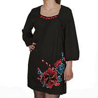 Черное платье короткое с вышивкой маки