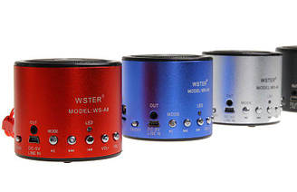 Портативная колонка WSTER WS-A8 MP3/USB/MicroUSB/AUX/Radio (разные цвета)