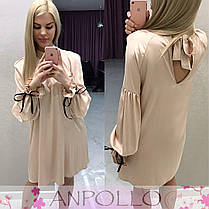 Платье свободное с поясом завязки на рукавах и сзади, фото 2