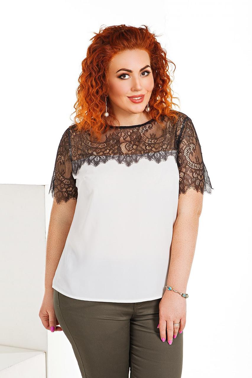 20c63c75a16 Купить Женская шифоновая блузка с кружевом размеры 42-56 в Одессе от ...