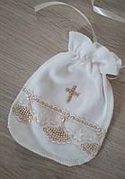 """Мешочек для волос на крестины/годик """"Крещение"""" молочный, фото 1"""