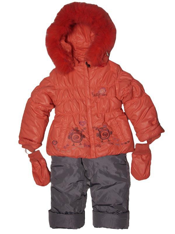 Детский зимний комбинезон для девочки  3-4 лет  Palhare с варежками