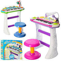 Пианино 7235 8шт Музыкант, на подставке, стул, микрофон, 2цвета, на бат-ке, 46-44-12см
