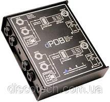 Двухканальный пассивный директ-бокс, 0,-20,-40дБ, вх/вых 50кОм/600 Ом, 10Гц-50кГц