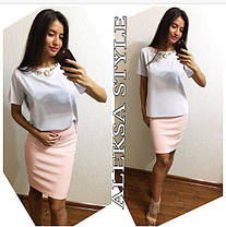 Костюм офисный юбка и блуза с украшением, фото 3