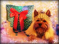 Подушка Новогодняя с бантом светящаяся