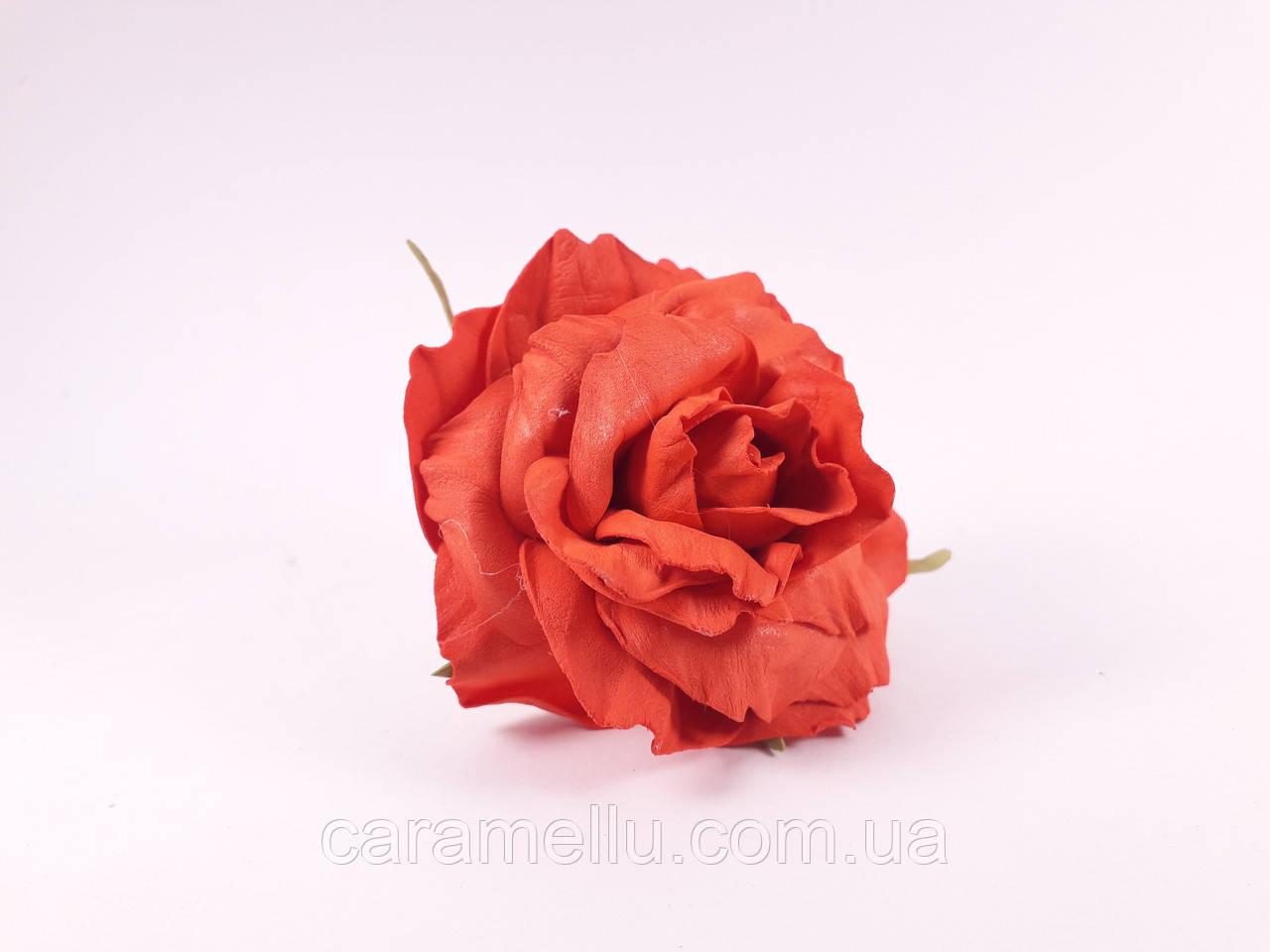 Роза искусственная из фоамирана(латекса). Цвет красный.