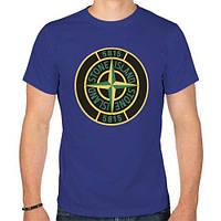 Футболка тёмно-синяя Stone Island logo   Стильная