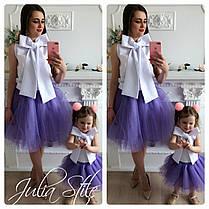 Набор мама и дочка топ с бантом и юбка, фото 2