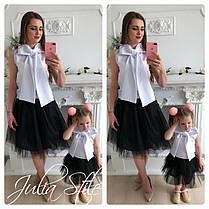 Набор мама и дочка топ с бантом и юбка, фото 3