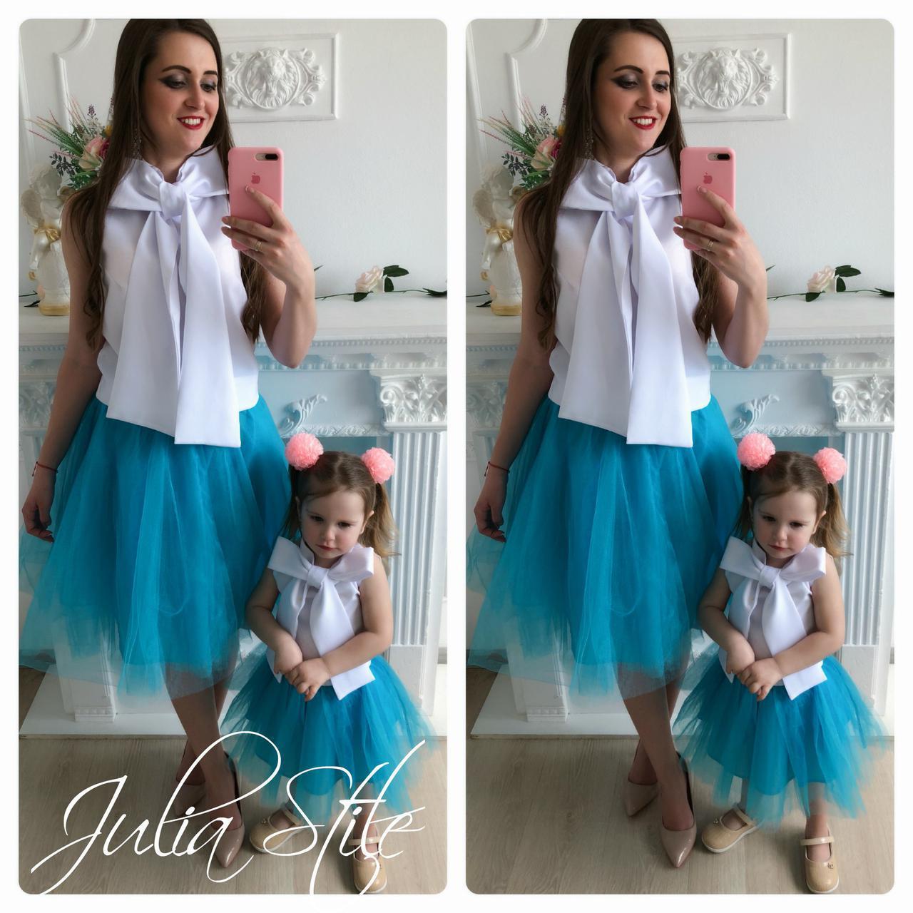 Набор мама и дочка топ с бантом и юбка