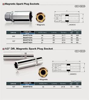 """Свічкова головка 16мм 3/8"""" магнітна TOPTUL BAAT1216, фото 2"""