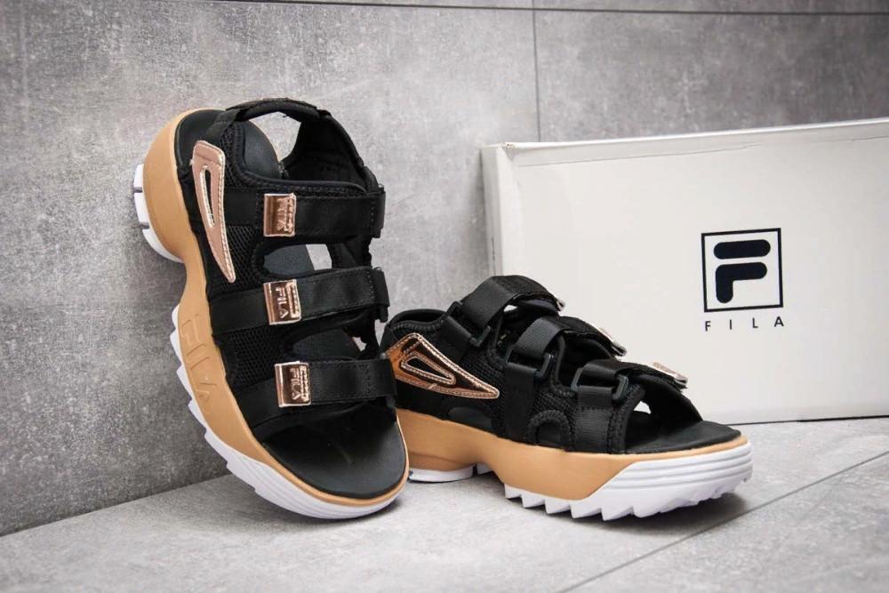 Женские сандалии\босоножки в стиле Fila Disruptor Sandals Black\Gold Черно-золотые