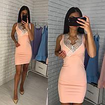 Платье вечернее без рукавов декольте с кружевом, фото 3
