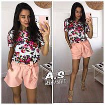 Костюм шорты и блуза с принтом в цветок, фото 3