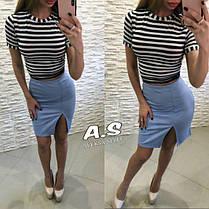 Костюм полосатый топ морячка и юбка с разрезом, фото 2
