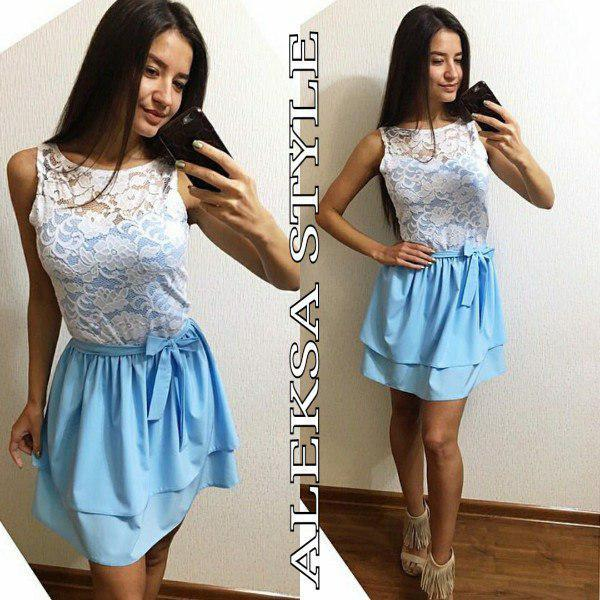 Платье с двойной юбкой верх кружево с поясом